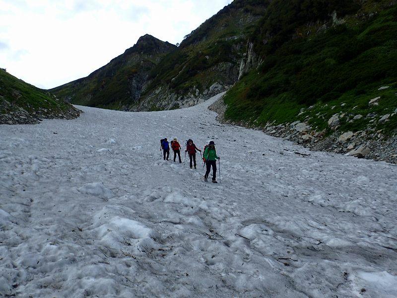 剱沢雪渓を降る